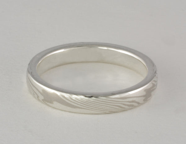 Custom: 3.5mm Palladium White Gold and Sterling Silver Mokume Gane Band