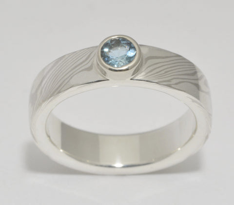 Mokume Gane Ring - 14kt Palladium White Gold and Sterling Silver Narrow Band with Aquamarine
