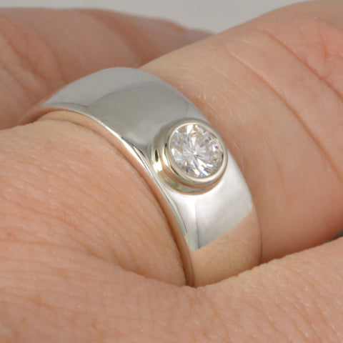 Custom: Sterling Silver Band with 4mm Round Diamond