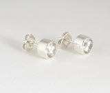 Custom: Sterling Silver Post/Stud Earrings with Cubic Zirconia