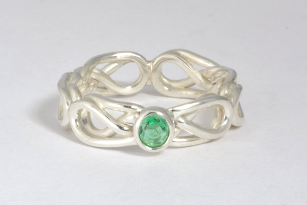 Custom: Celtic Knot Ring with Green Stone