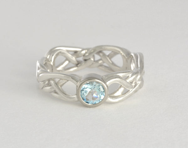 Custom: Eternal Love Celtic Knot Ring with Round Aquamarine