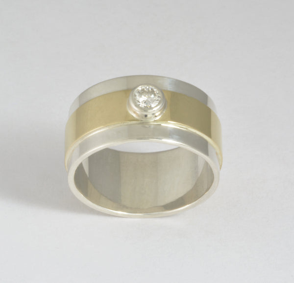 Custom: Sterling Silver Band with 14kt gold overlay and diamond