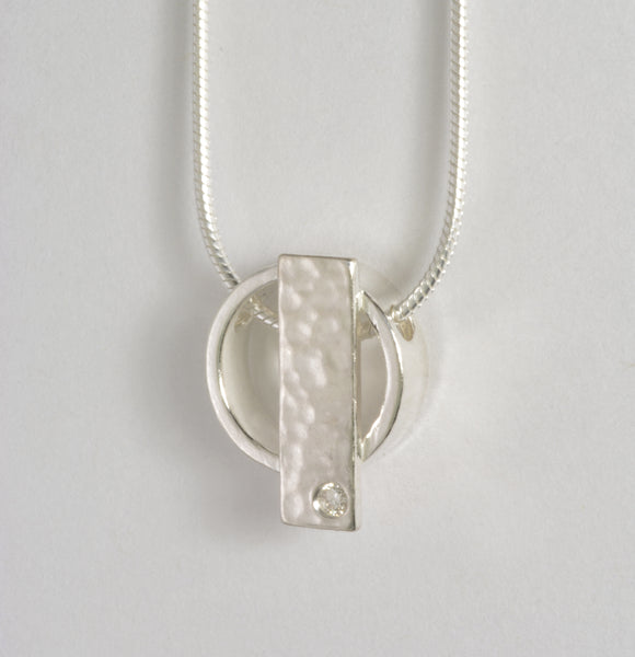 Custom: Sterling Silver Hammered Accent Pendant with Diamond
