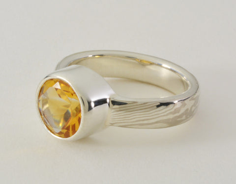 Custom: Palladium White Gold and Sterling Silver Mokume Ring with Tall Bezel Set Citrine