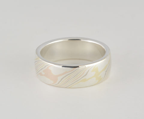 Mokume Gane Ring - Quad Colour and Sterling Silver, Wide