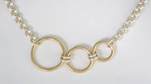 Small Double Jump Style Necklace with Three Gold Rings