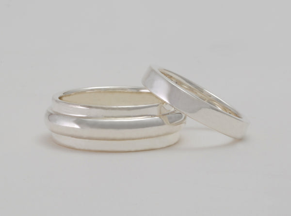 Custom: Sterling Silver Wedding Band Set