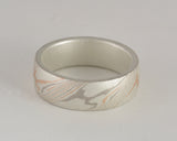 Mokume Gane Ring - Tri-Colour and Sterling Silver, Wide
