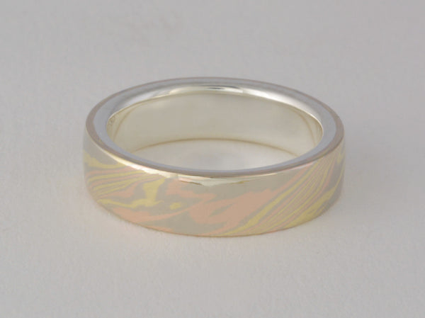 Mokume Gane Ring - 18kt Trigold and Sterling Silver, Narrow