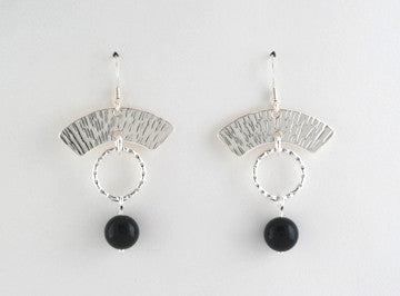 Arches Earrings with Black Onyx and Textured Ring