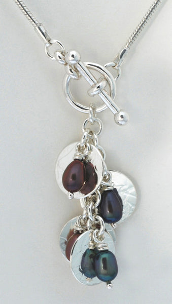 Cascading Drop Lariate Style Pendant with Pearls