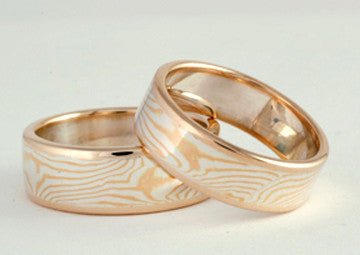 Custom: 22kt and Sterling Silver Mokume Gane Rings with 10kt Gold Rails