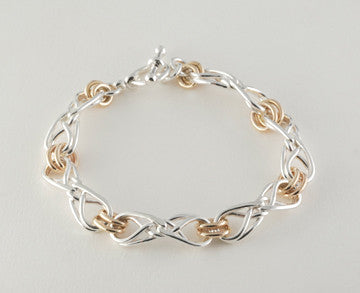 Custom: 14kt Yellow Gold and Sterling Silver Eternal Love Celtic Knot Bracelet Medium