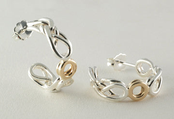 Custom: 14kt Yellow Gold and Sterling Silver Eternal Love Celtic Knot Hoop Earrings