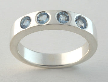 Custom: Sterling Silver Band with Aquamarine Stones