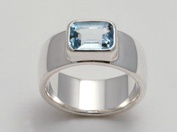 Custom: Sterling Silver Band with Hexagonal Aquamarine Stone
