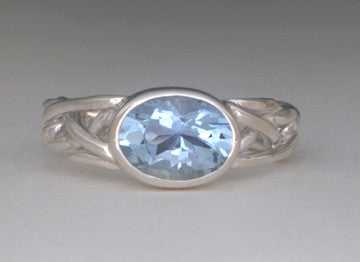 Custom: Tapered Celtic Knot Style Ring with Aquamarine Faceted Stone