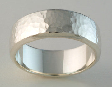 Custom: Hammered Band Ring Wide, Sterling Silver