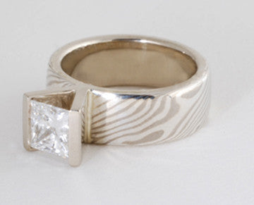 Custom: Palladium White Gold and Sterling Silver Mokume Gane Band with Princess Cut Diamond