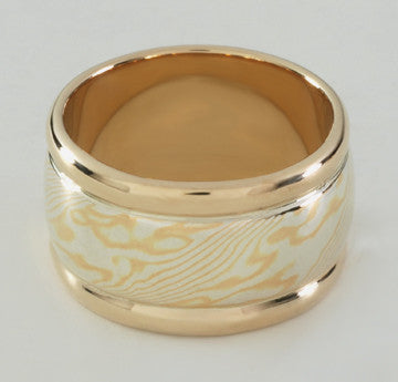 Custom: 22kt and Sterling Silver Mokume Gane Band (12mm) with 14kt Gold Rails and Liner