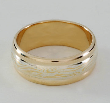 Custom: 22kt and Sterling Silver Mokume Gane Band (8mm) with 14kt Gold Rails and Liner