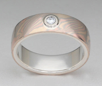 Custom: Trigold Mokume Gane Band with Bezel Set Diamond