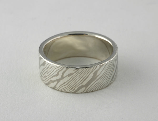 Custom: 14kt Palladium White Gold and Sterling Silver 10mm Mokume Gane Band