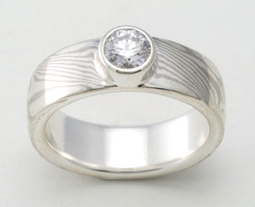 Custom: Palladium White Gold and Sterling Silver Mokume Ring with Bezel Set Round Diamond