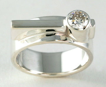 Custom: Simplicity Ring with Tube Set Diamond
