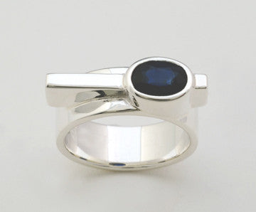 Custom: Simplicity Style Ring with Bezel Set Sapphire