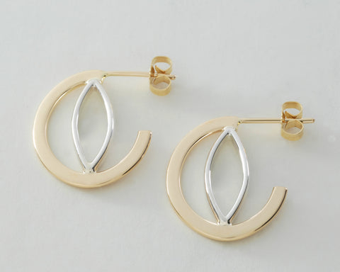 Custom: 14kt Yellow Gold and Sterling Silver Post Earrings