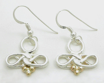 Eternal Love Celtic Knot 2 Tone Earrings