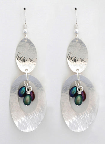 Feathers Earrings with Pearls