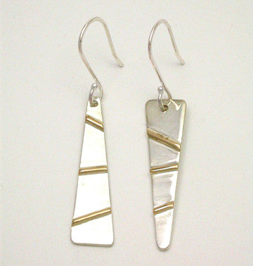 Gold Bars 2 Tone Earrings