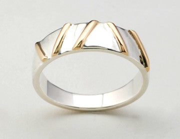 Gold Bars 2 Tone Ring, Narrow
