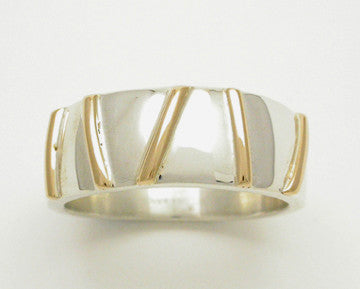 Gold Bars 2 Tone Ring, Wide