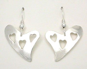 Heart - Triple Heart Hook Earrings