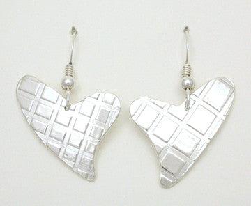 Heart Plaid Hook Earrings