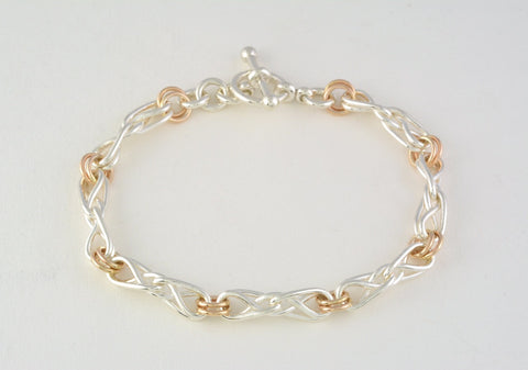 2 tone Eternal Love Celtic Knot Bracelet, Small