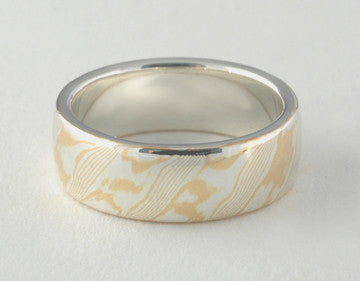 Mokume Gane Ring - 22kt Yellow Gold and Sterling Silver, Wide