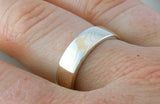 Mokume Gane Ring - 22kt Yellow Gold and Sterling Silver, Narrow