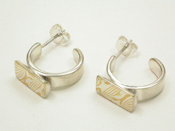 Mokume-Gane Accent Hoop Earrings