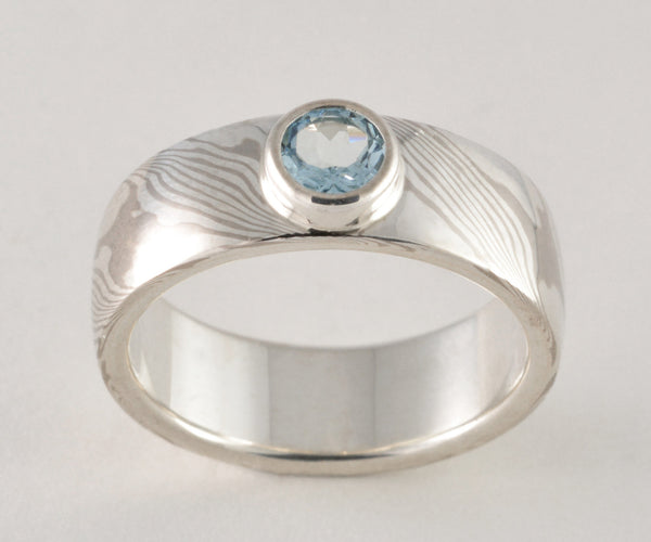 Mokume Gane Ring - 14kt Palladium White Gold and Sterling Silver Wide Band with Aquamarine