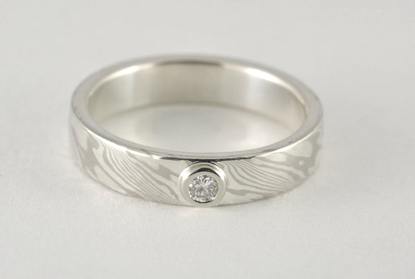 Custom: Palladium White Gold and Sterling Silver Narrow Mokume Gane Ring with Diamond