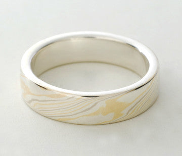 Mokume Gane Ring - Quad Colour and Sterling Silver, Narrow
