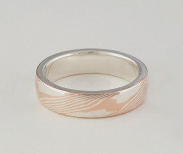Mokume Gane Ring - Rose Gold and Sterling Sliver, Narrow