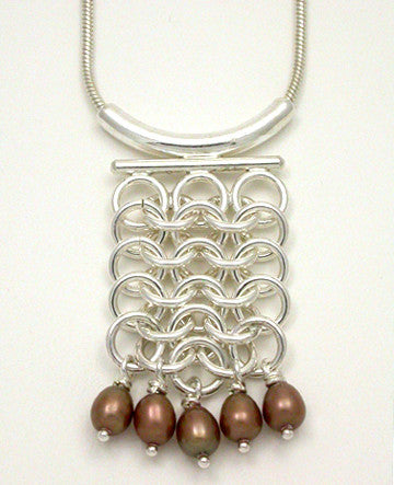 Mail Smith Wide Pendant with Pearls