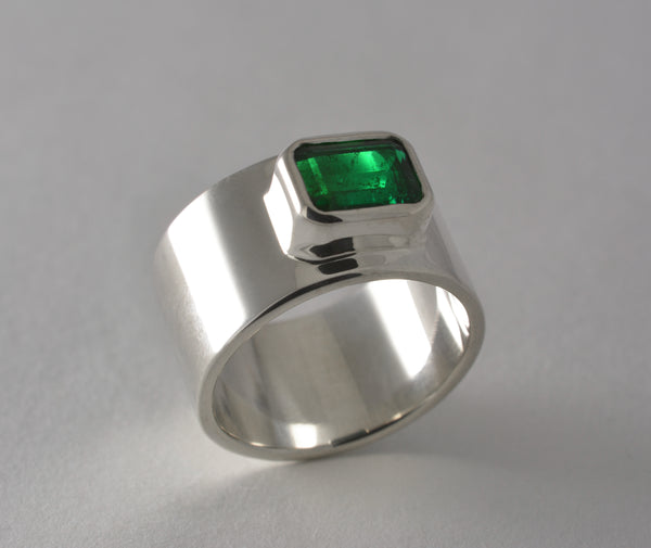 Custom: Emerald and Sterling Silver Ring
