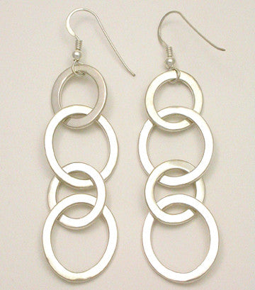 Oval Link Long Hook Earrings
